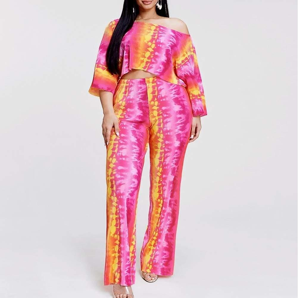Posh Shoppe: Plus Size Tie Dye Top and Pants, Pink Punch Bottoms
