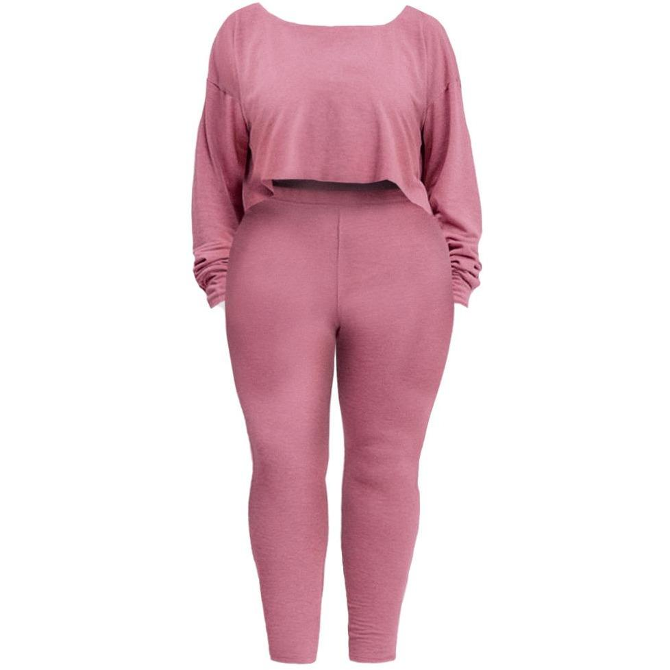 Posh Shoppe: Plus Size Heathered French Terry Lounge Set, Rose Bottoms