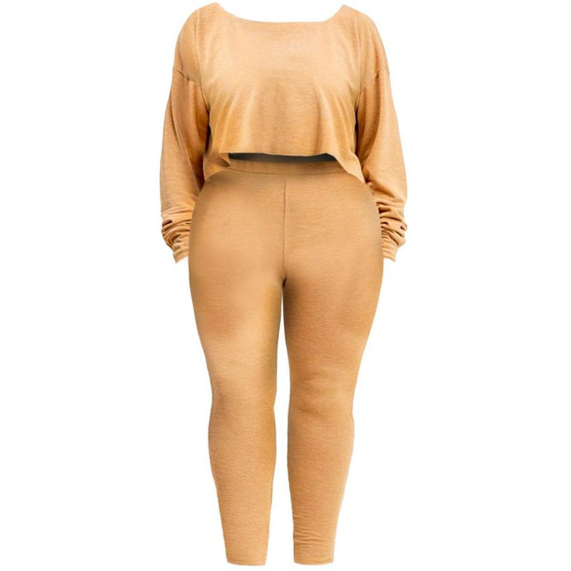 Posh Shoppe: Plus Size Heathered French Terry Lounge Set, Mustard Bottoms