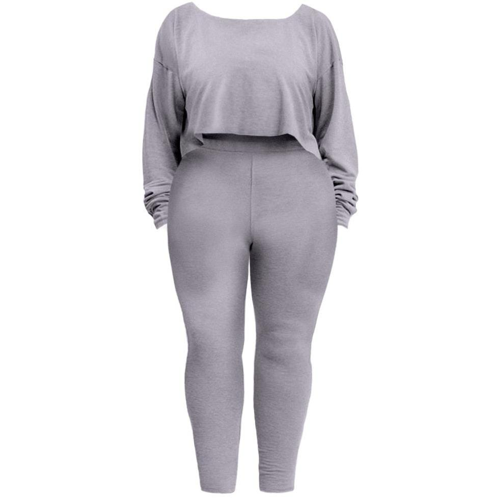 Posh Shoppe: Plus Size Heathered French Terry Lounge Set, Gray Bottoms