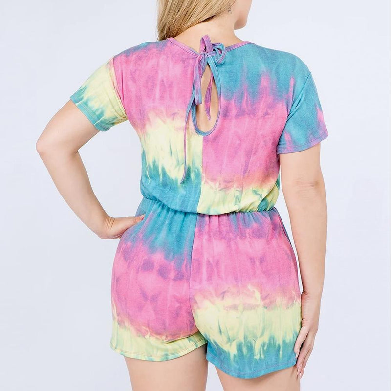 Posh Shoppe: Plus Size French Terry Romper, Rainbow Tie Dye Bottoms
