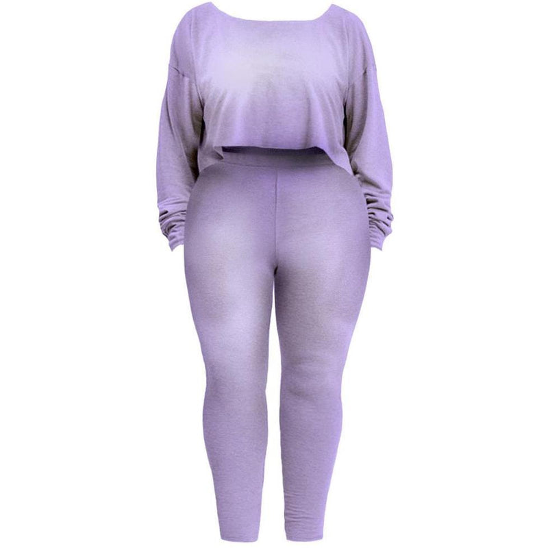Posh Shoppe: Plus Size Heathered French Terry Lounge Set, Lavender Bottoms