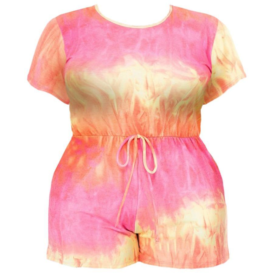 Posh Shoppe: Plus Size French Terry Romper, Orange Tie Dye Bottoms