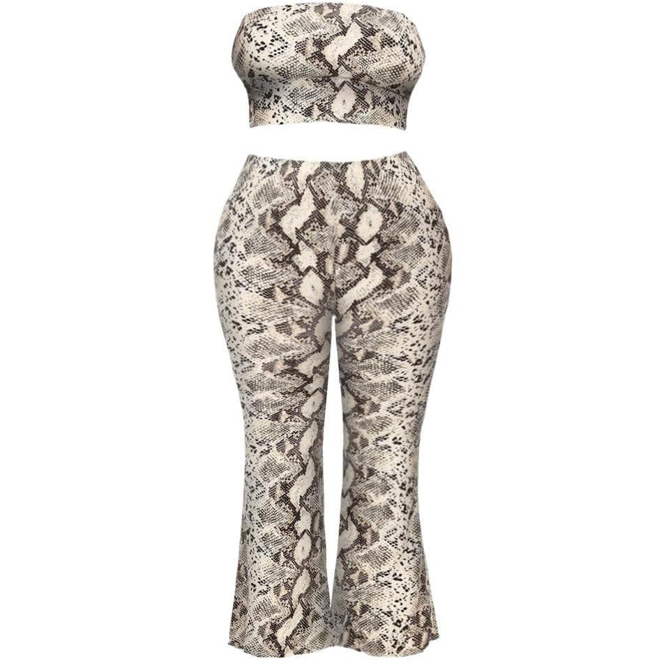 Posh Shoppe: Plus Size Top and Flares Coordinated Set, Snake Print Bottoms