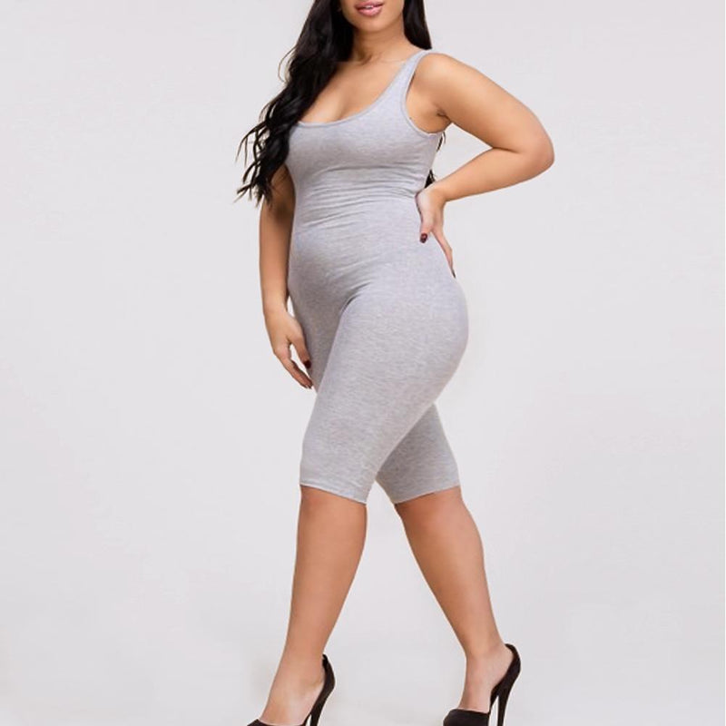Posh Shoppe: Plus Size Biker Length Tank Cotton Romper, Heather Gray Bottoms