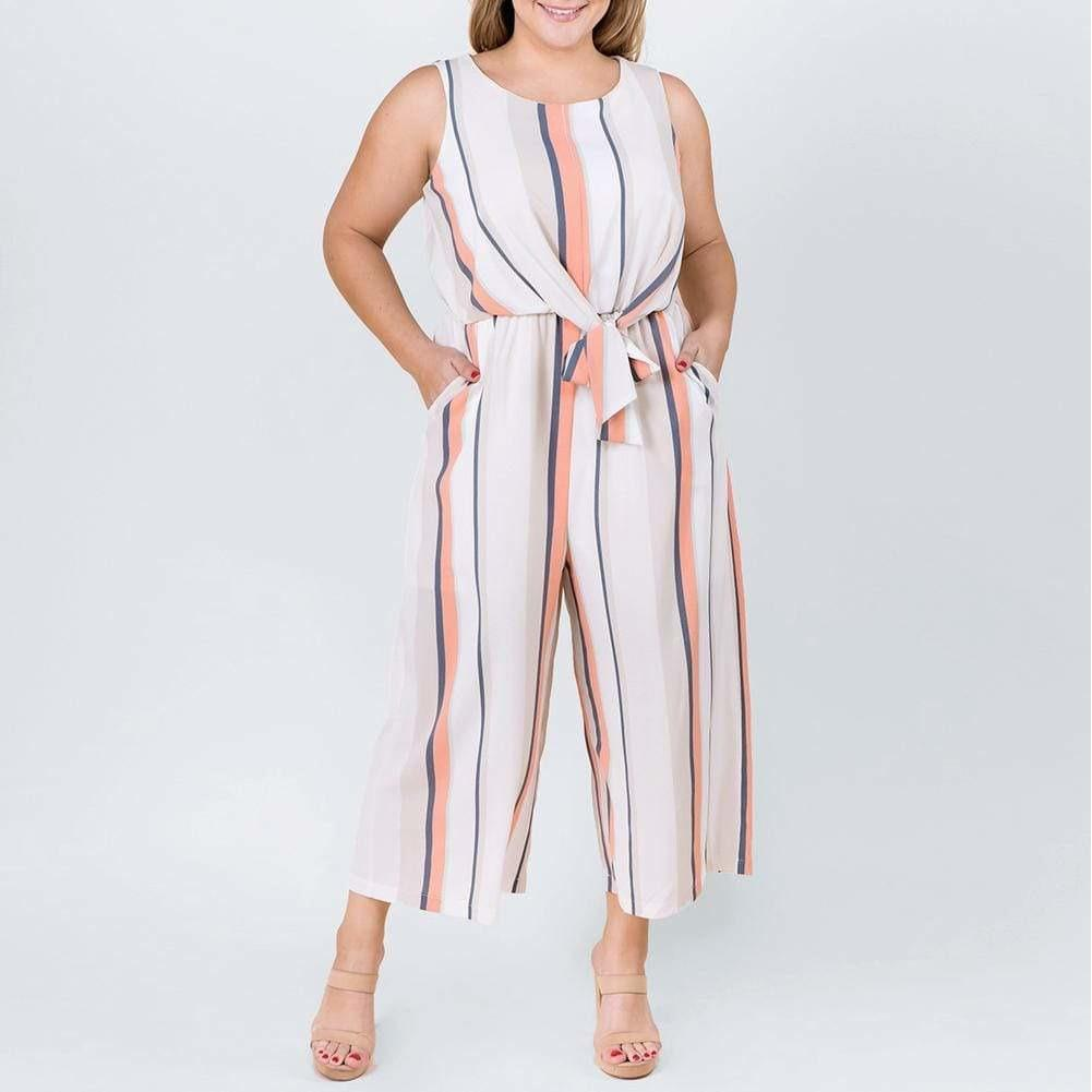 Posh Shoppe: Plus Size Tie Front Jumpsuit, White and Coral Bottoms
