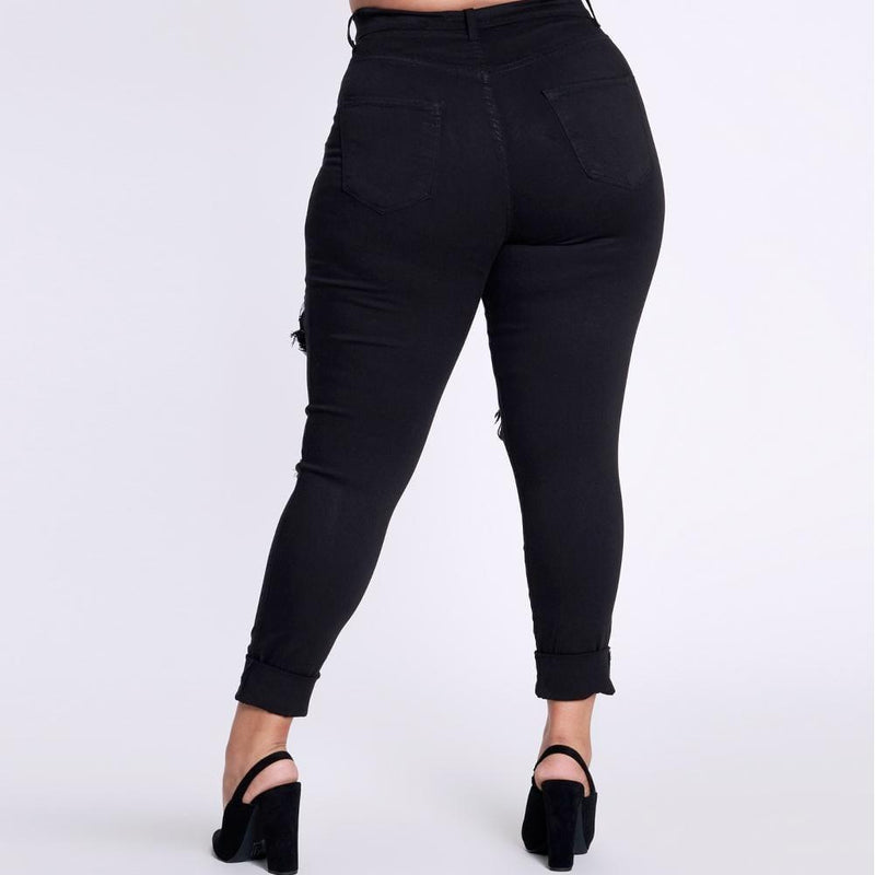 Plus Size Distressed Black Skinny Jeans