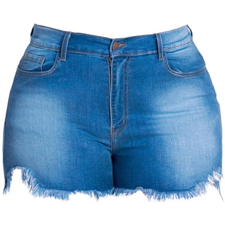 Plus Size High Rise Cut Offs, Medium Blue