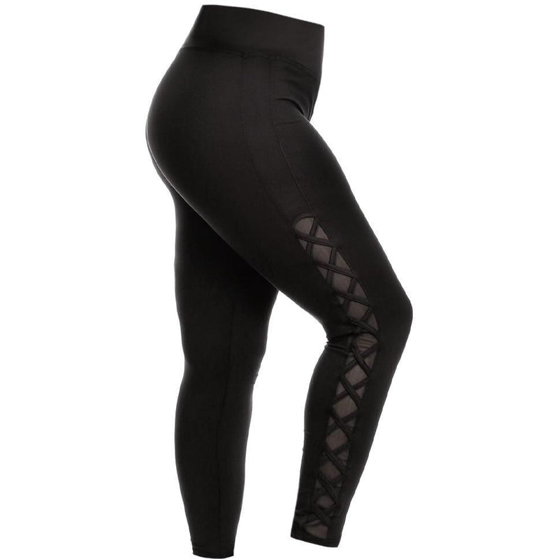 Plus Size Lace Up Side Detail Athletic Leggings