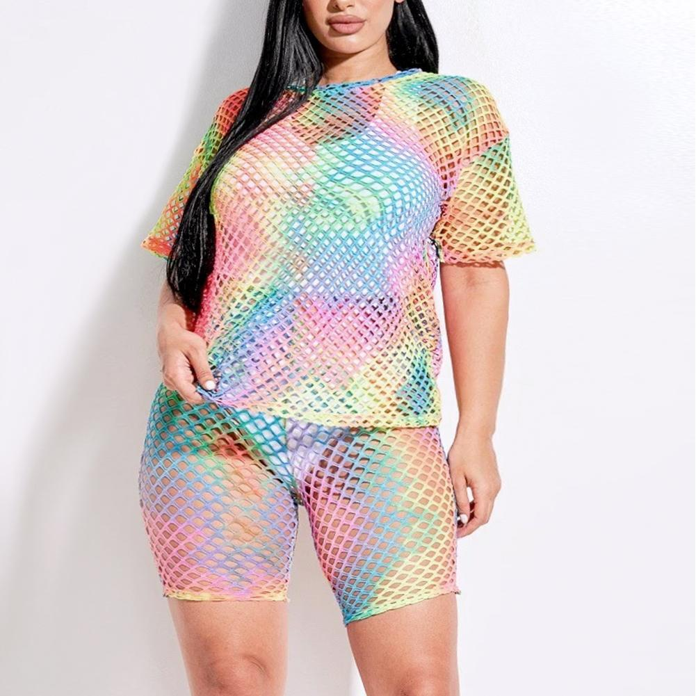 Plus Size Fishnet Top and Shorts Set