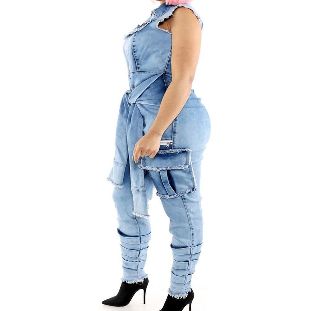 Posh Shoppe: Plus Size Tie Waist Denim Jumpsuit Bottoms