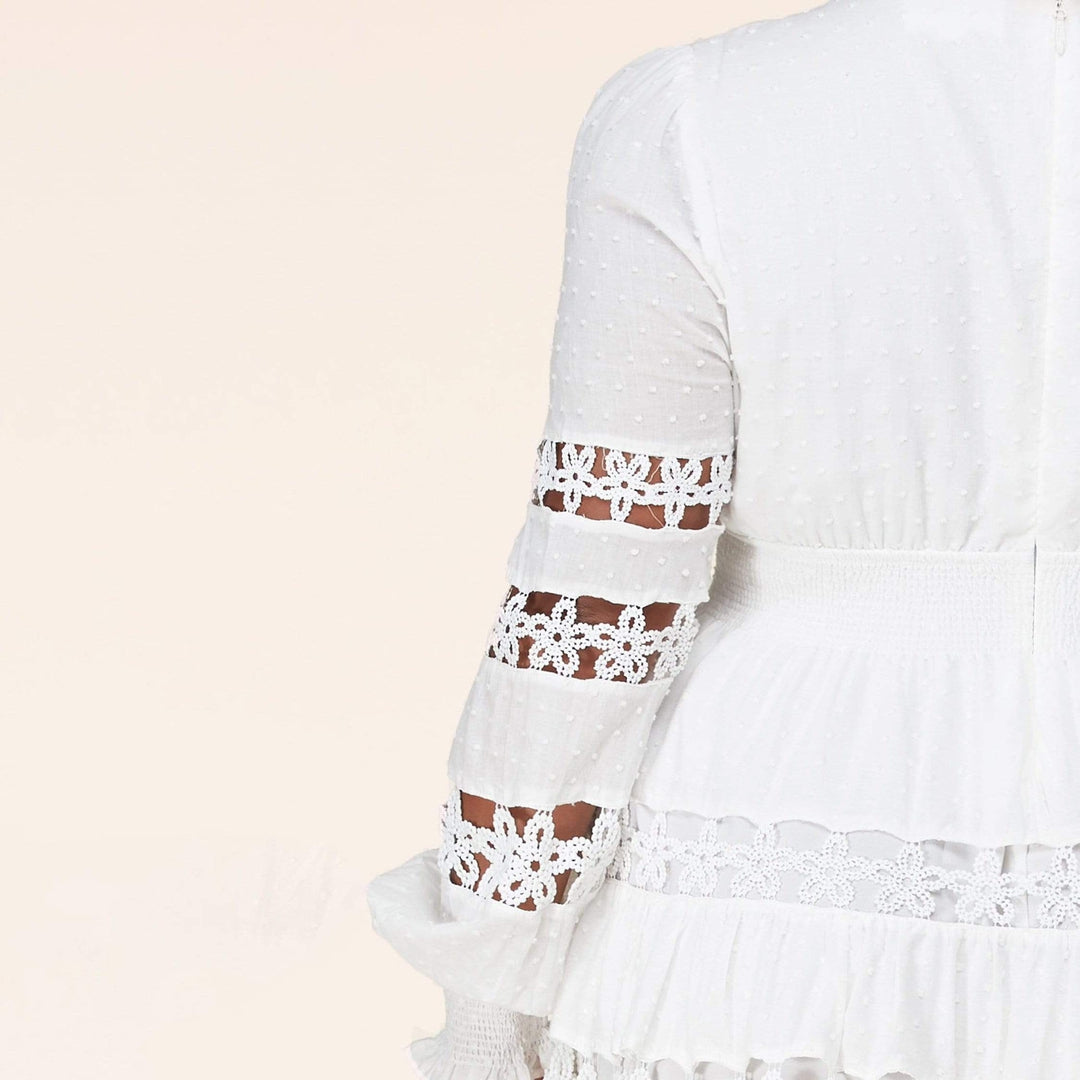 Lace Long Sleeve Mini Dress - White