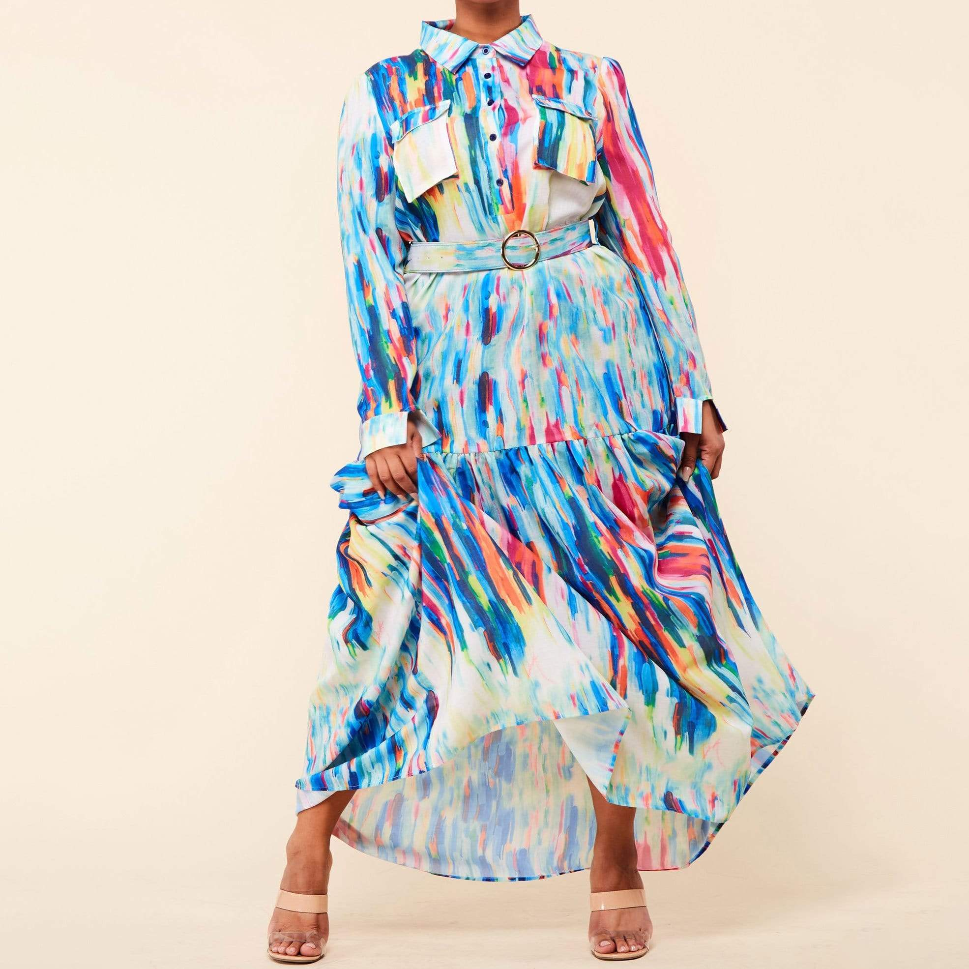 Color Spectrum Print Maxi Dress