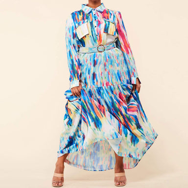 Posh Shoppe: Color Spectrum Print Maxi Dress Dress