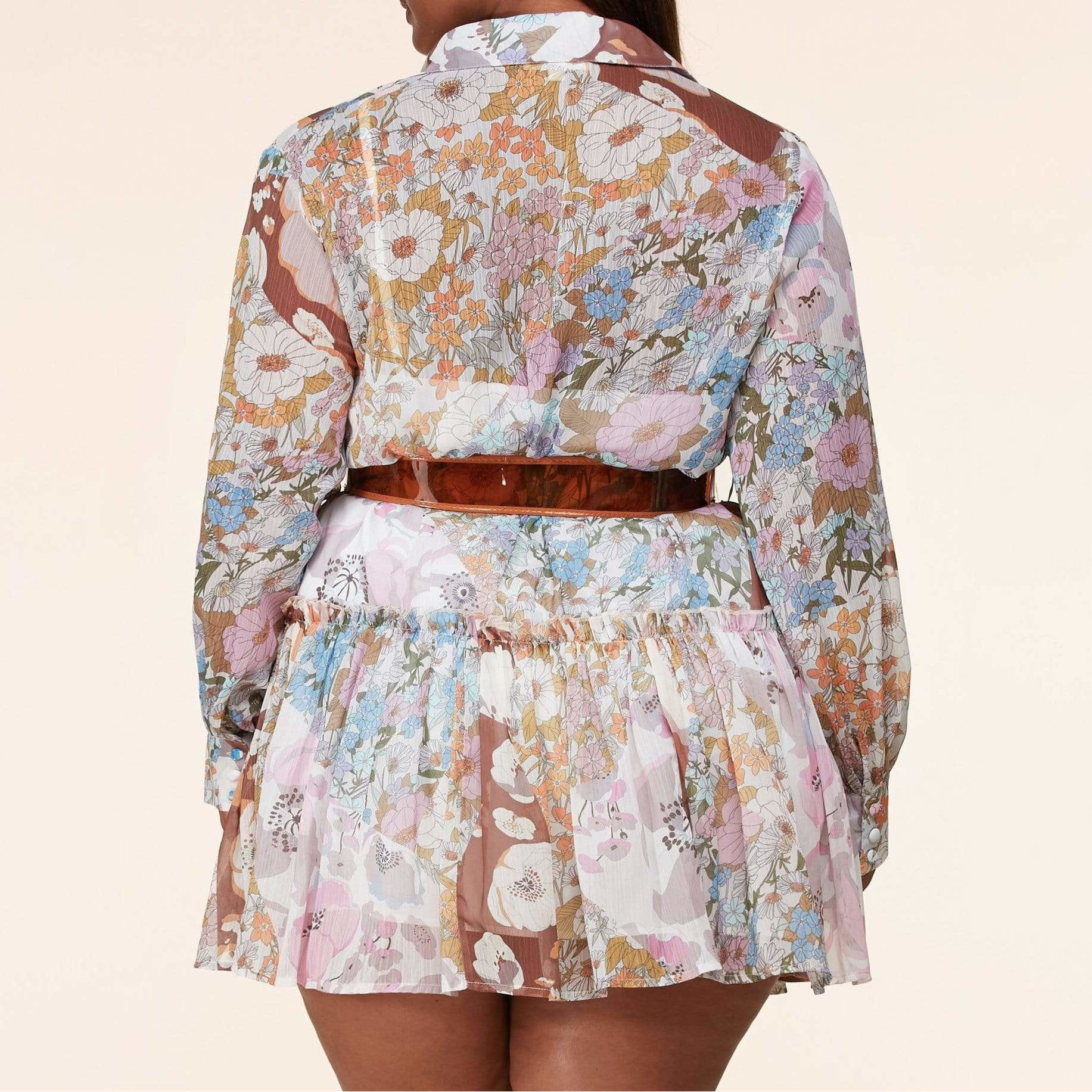 Posh Shoppe: Transitional Floral Print Drop-Waist Mini Dress Dress