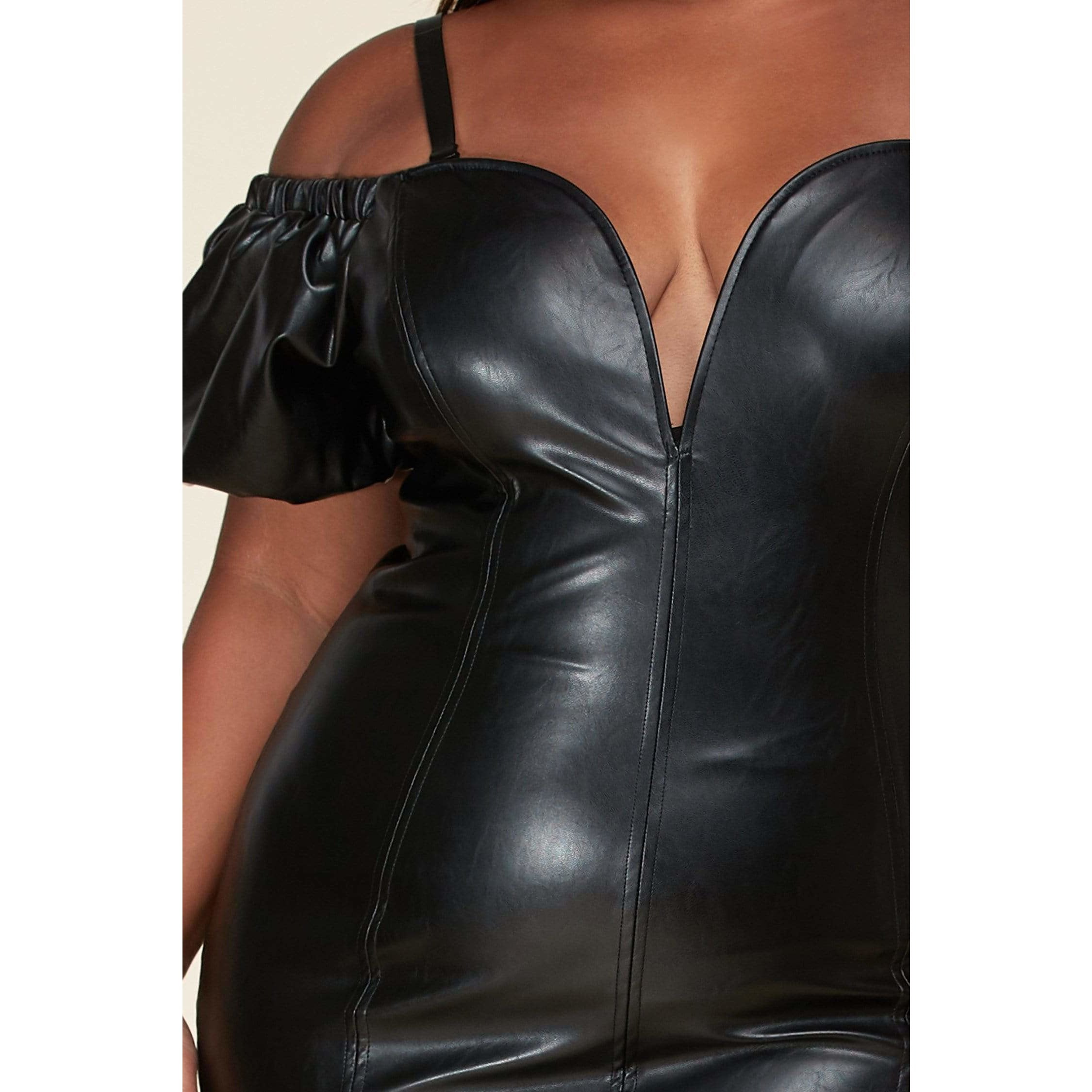 Sultry faux black leather bodycon mini dress