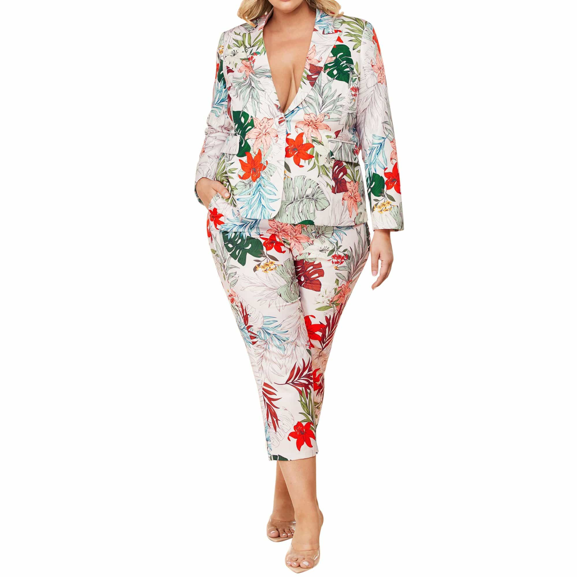Tropical Floral Print Suit