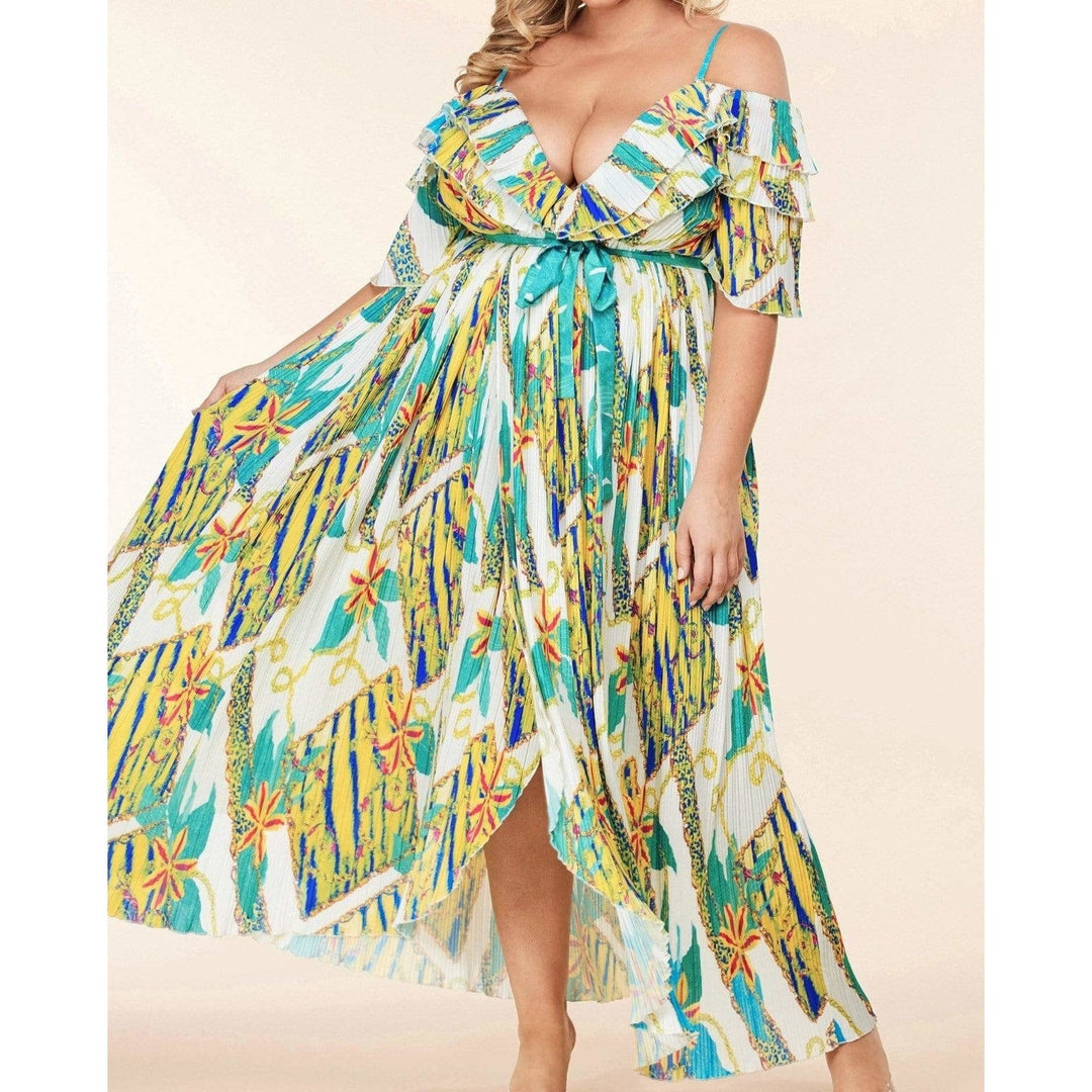 Off Shoulder Pleated Maxi Dress with Chain Print