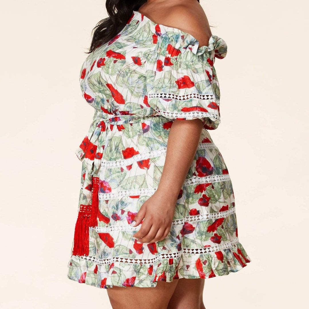 Red Floral Belted Waist Tie Mini Dress