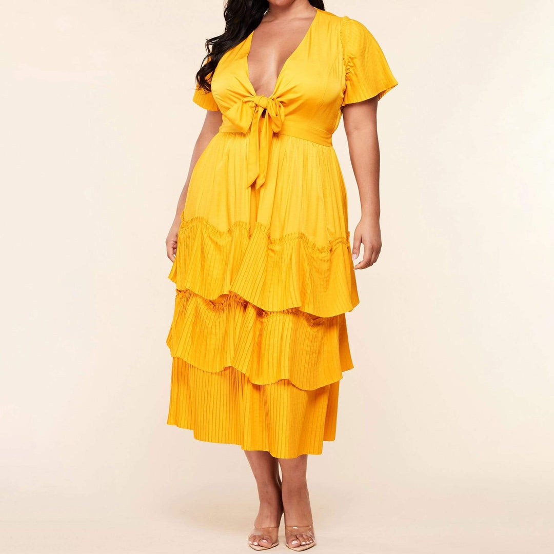 Short Sleeve Midi Pleated Dress-Yellow