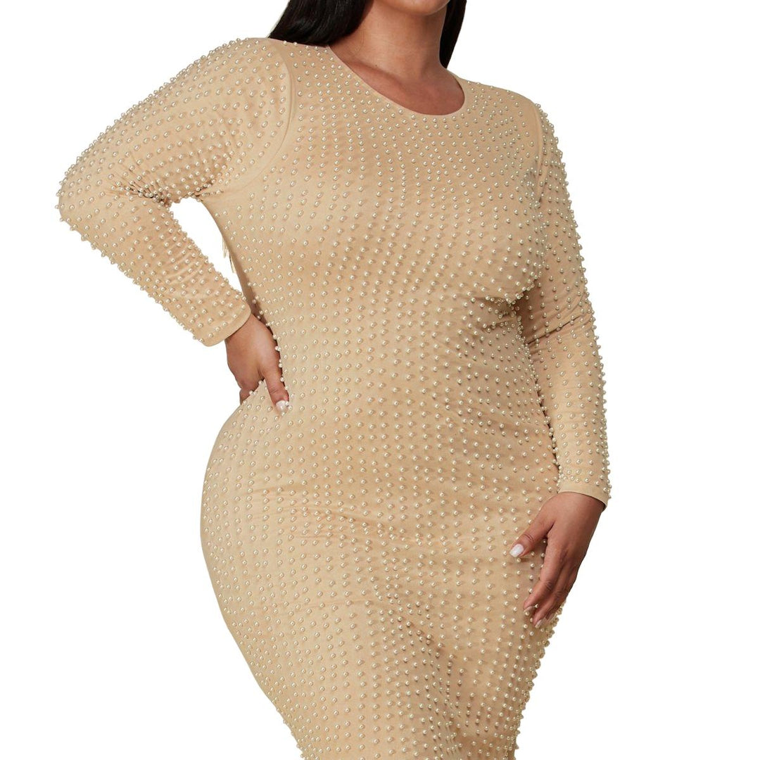 Pearl Embellished Long Sleeve Bodycon Dress