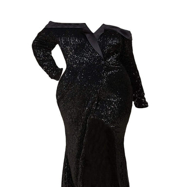 Posh Shoppe: Black Sequins Mermaid Maxi Dress - Preorder Dress