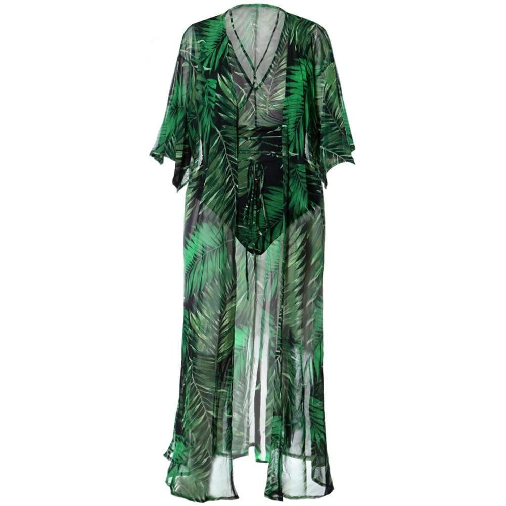 Plus Size Resort Sheer 2 Piece Set, Tropical Forest Print