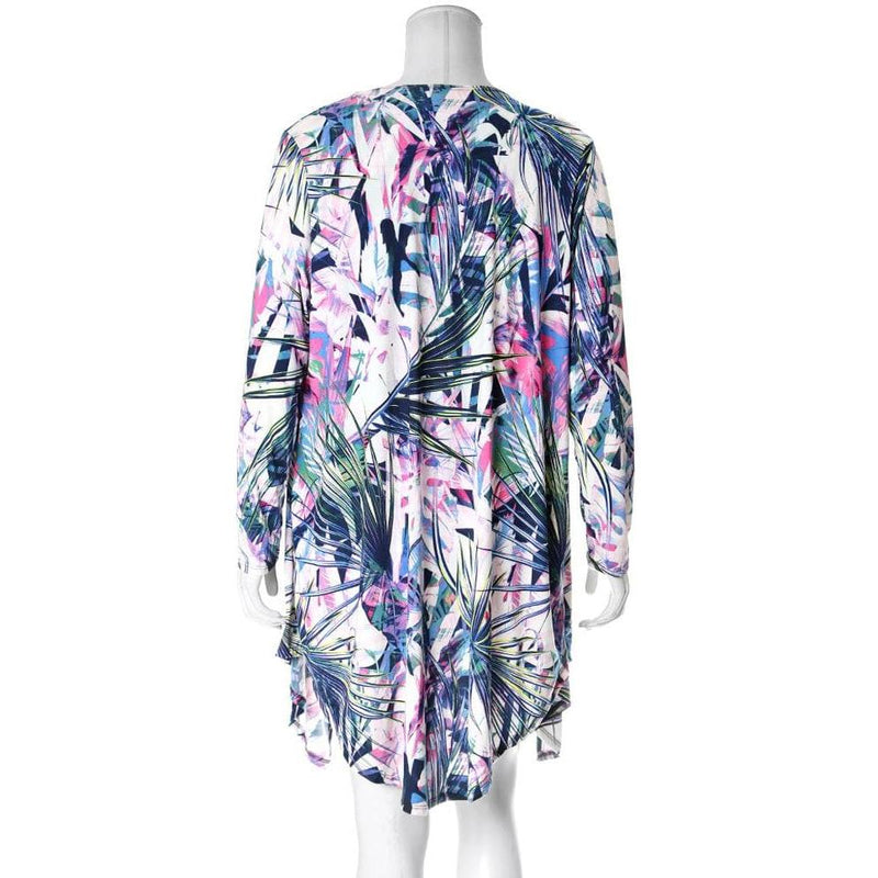 Posh Shoppe: Plus Size Resort 3 Piece Set, Blue Palms Print Seasonal