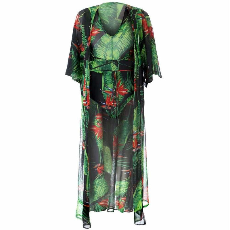 Plus Size Resort Sheer 2 Piece Set, Birds of Paradise Print