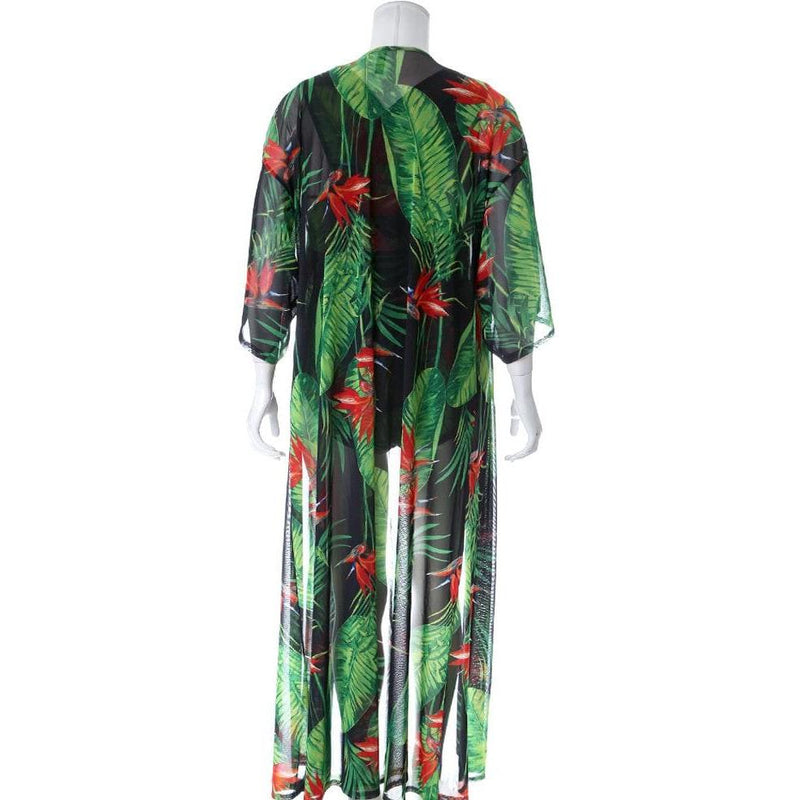 Posh Shoppe: Plus Size Resort Sheer 2 Piece Set, Birds of Paradise Print Seasonal