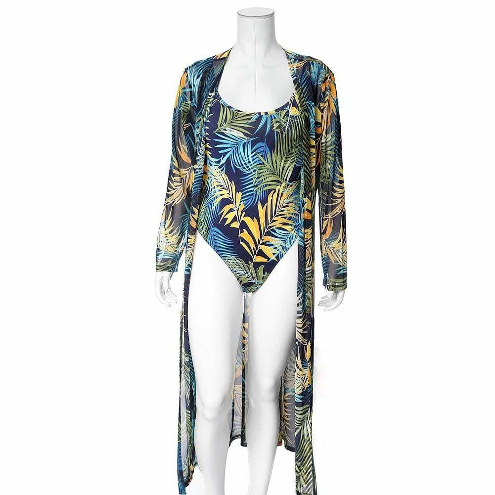 Plus Size Resort 2 Piece Set, Palms Print