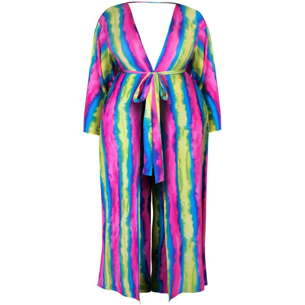 Posh Shoppe: Plus Size Tie Dye Robe and Pants Cover Up Set Seasonal