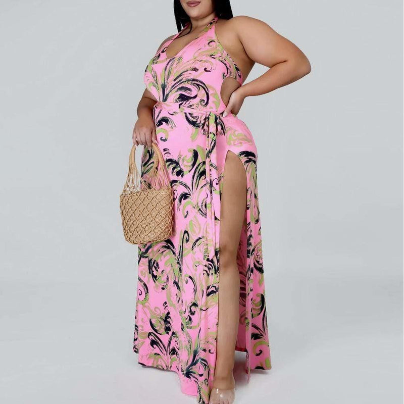 Posh Shoppe: Plus Size Swimsuit and Skirt Resort Set, Pink Seasonal