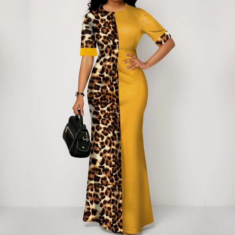 Plus Size Slim Patchwork Color Maxi Dress