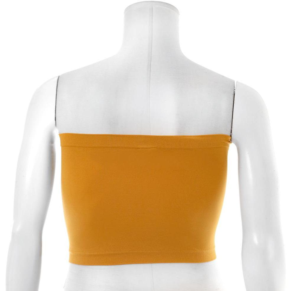 Posh Shoppe: Plus Size Seamless Opaque Bra Top, Mustard Bottoms