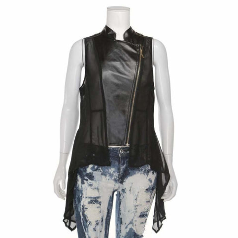 Plus Size Faux Leather & Chiffon Peplum Vest