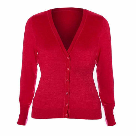 Plus Size Classic V-Neck Cardigan, Varsity Red