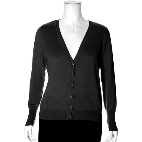 Plus Size Classic V-Neck Cardigan, Heather Gray