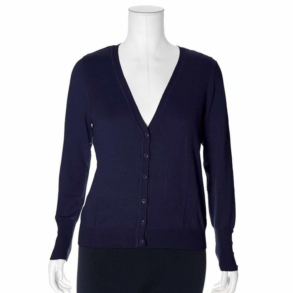 Posh Shoppe: Plus Size Classic V-Neck Cardigan, Varsity Navy Tops