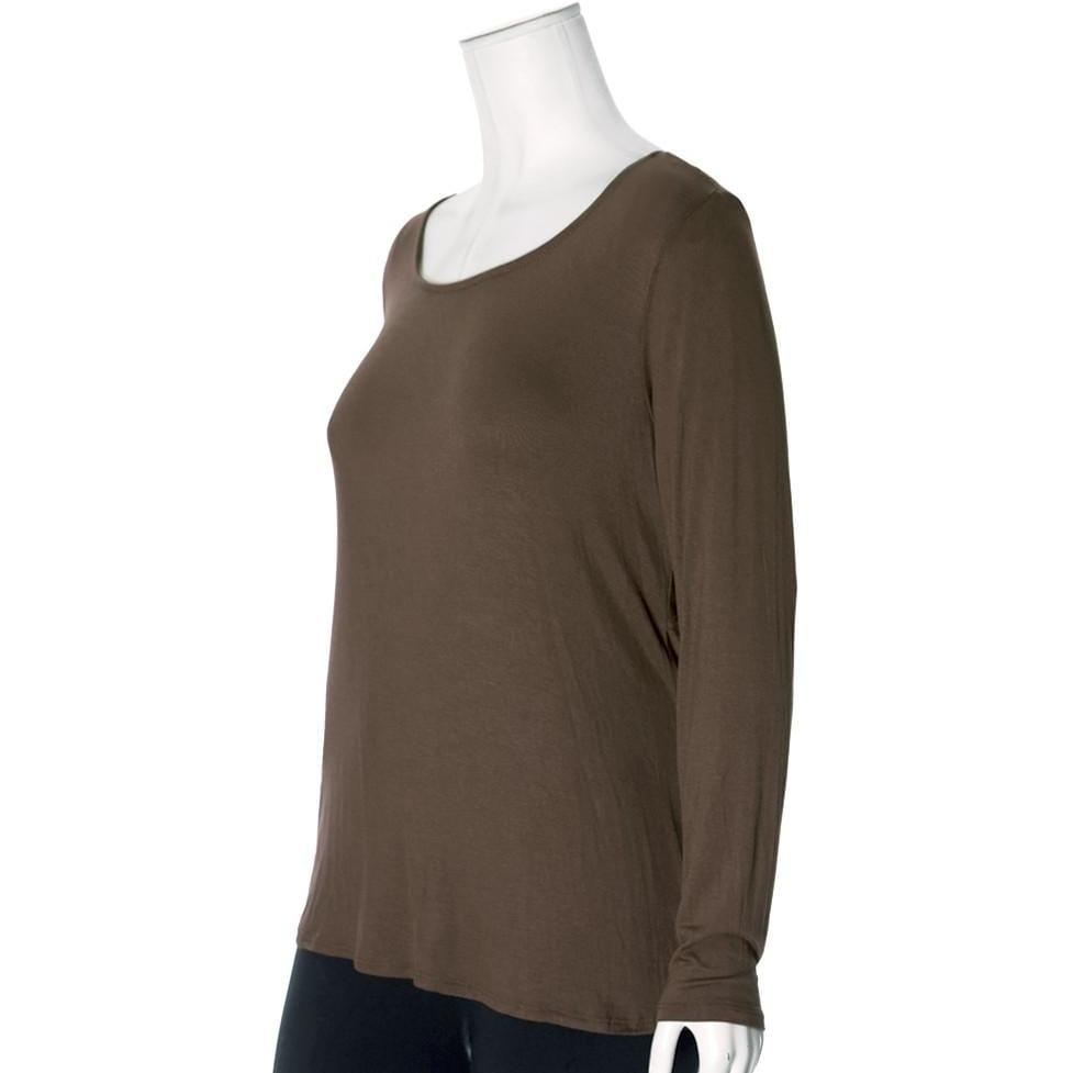 Posh Shoppe: Plus Size Twist Back Basic Top, Mocha Tops