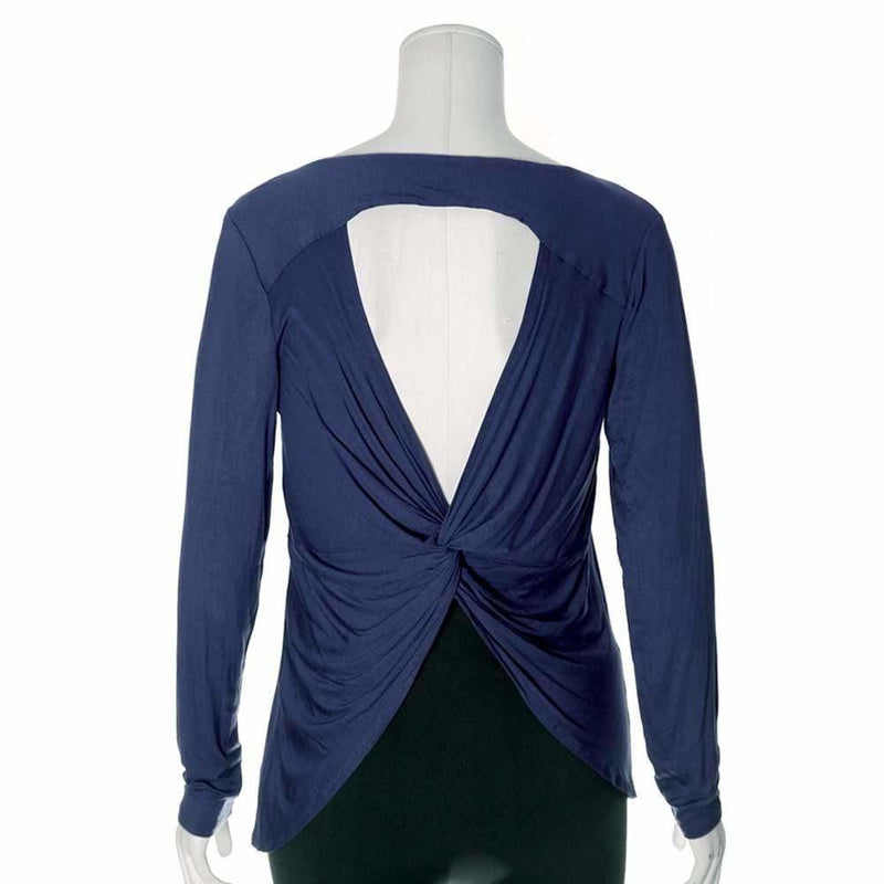 Posh Shoppe: Plus Size Twist Back Basic Top, Midnight Tops