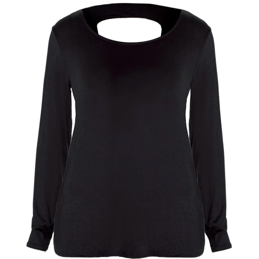 Posh Shoppe: Plus Size Twist Back Basic Top, Black Tops