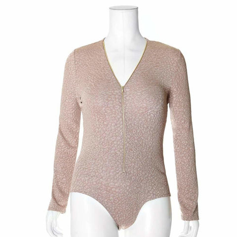 Plus Size Zip Up Bodysuit, Pebbled Gold