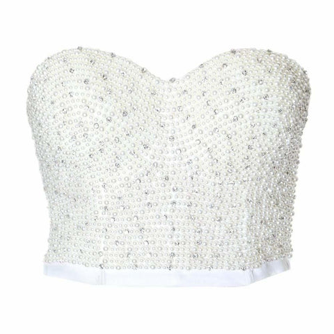 Plus Size Embellished Corset Top, Pearls on White