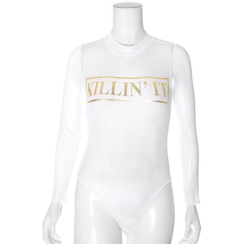 Plus Size 'Killin It' Sheer Mesh Mock Neck Bodysuit, White