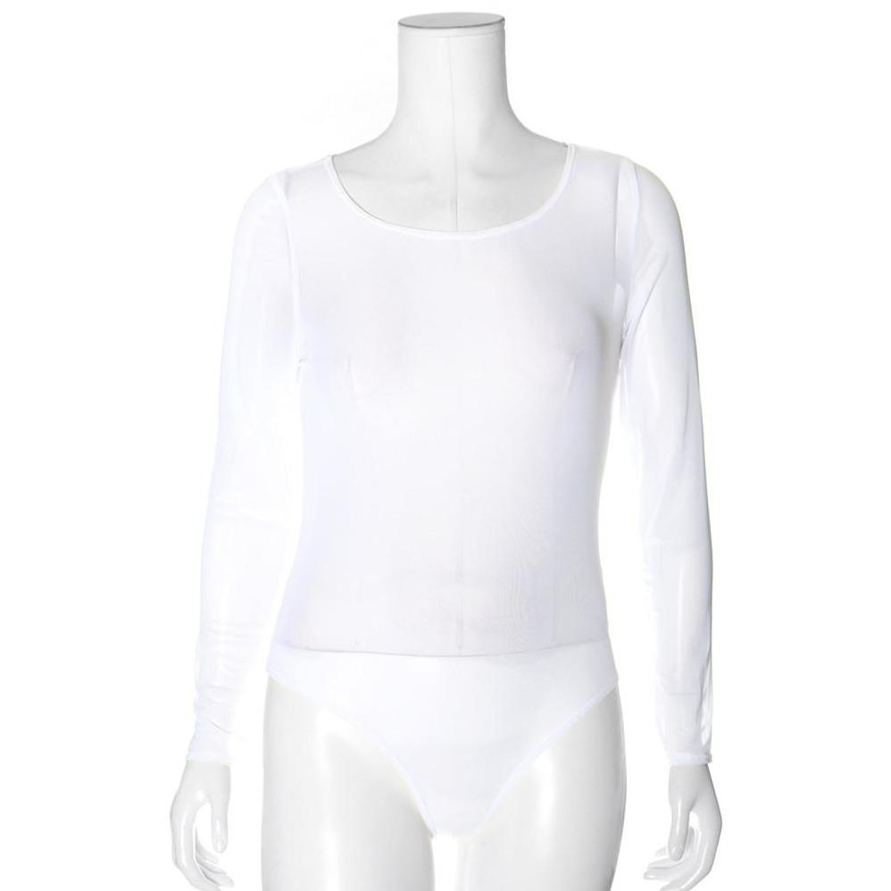 Posh Shoppe: Plus Size Sheer Mesh Scoop Neck Bodysuit, White Tops