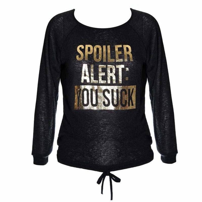 Posh Shoppe: Plus Size 'Spoiler' Knit Sweater Top, Black Tops