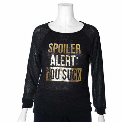 Plus Size 'Spoiler' Knit Sweater Top, Black