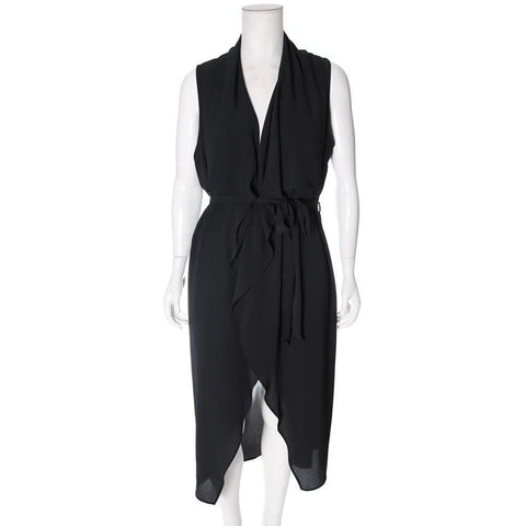 Plus Size Flutter Trench Vest, Black