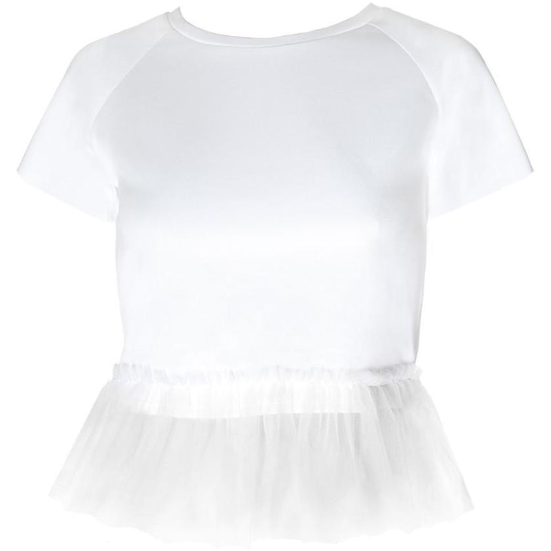 Posh Shoppe: Plus Size Tulle Trim Structured Tee, White Tops